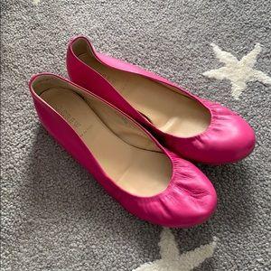 Jcrew pink leather flats
